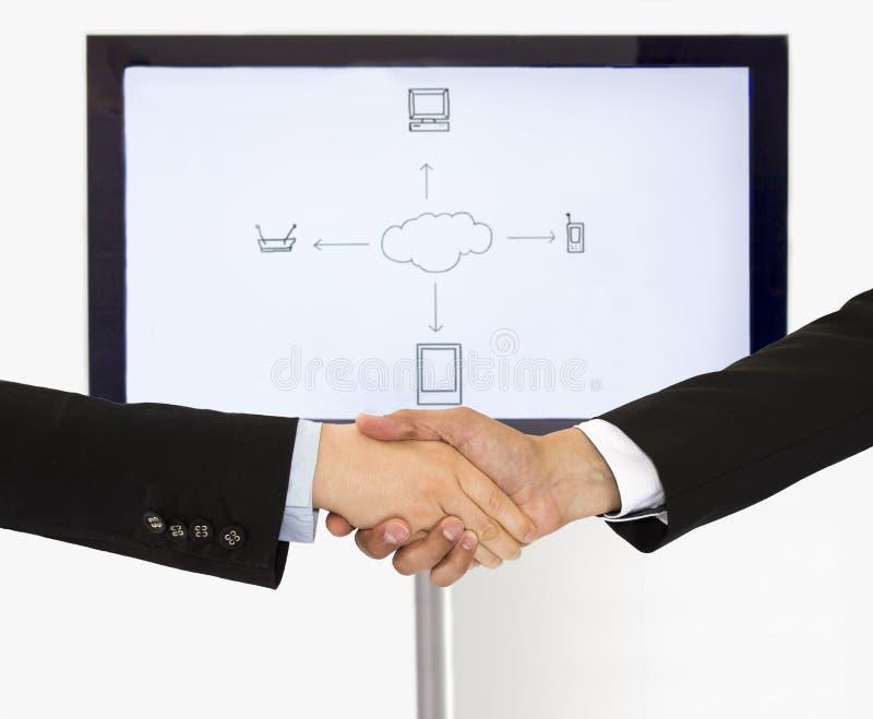 Handdruk voor globale mededeling royalty-vrije stock afbeelding