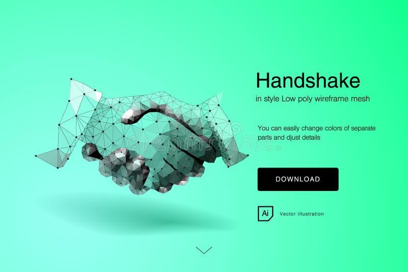 Handdruk Zakenlieden die handdruk maken - bedrijfsetiquette, fusie en aanwinstenconcepten Samenvatting van Bedrijfshanddruk royalty-vrije illustratie