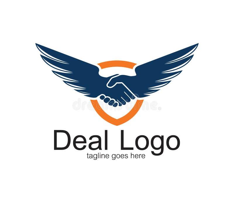handdruksymbool van overeenkomst en samenwerkings vectorembleemontwerp met een paar vleugels stock illustratie
