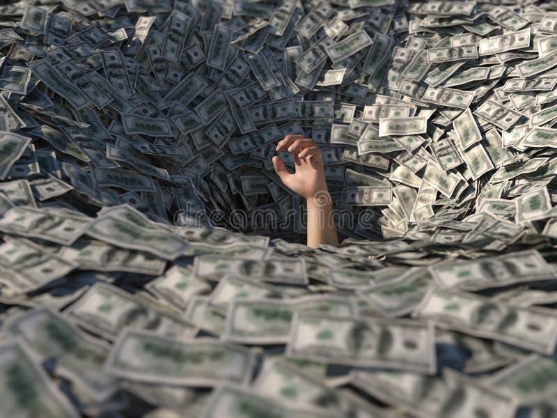 Handdrunkning i pengar royaltyfri illustrationer