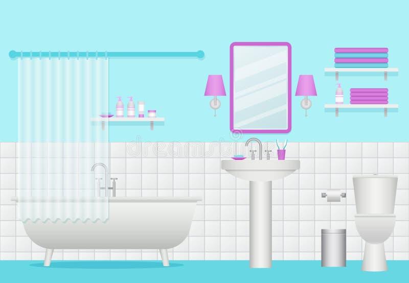 handduk för badrumbunkeinterior också vektor för coreldrawillustration Rum med badet, vask och stock illustrationer