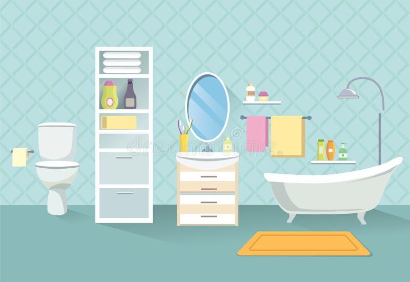 handduk för badrumbunkeinterior Uppsättning för badrummöblemang royaltyfri illustrationer
