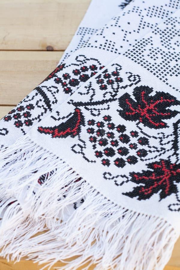 Handduk för symbolen med densvart ukrainarebroderit arkivfoto