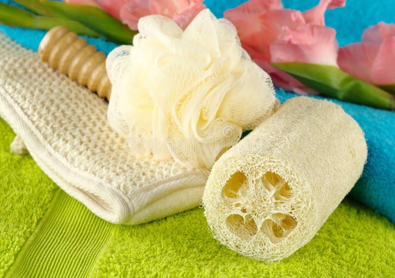 handdukar för badsatsbrunnsort royaltyfria foton