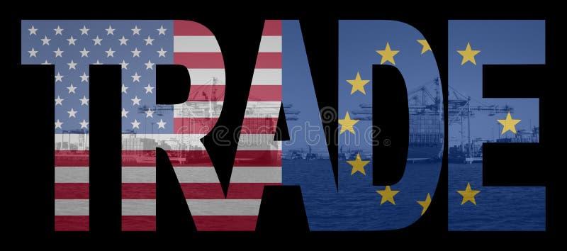 Handel Amerikaan en de vlaggen van de EU vector illustratie
