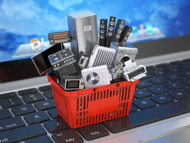 Handel elektroniczny dostawy lub zakupy online pojęcie Domowy urządzenie w wózek na zakupy na laptop klawiaturze 3d ilustracji