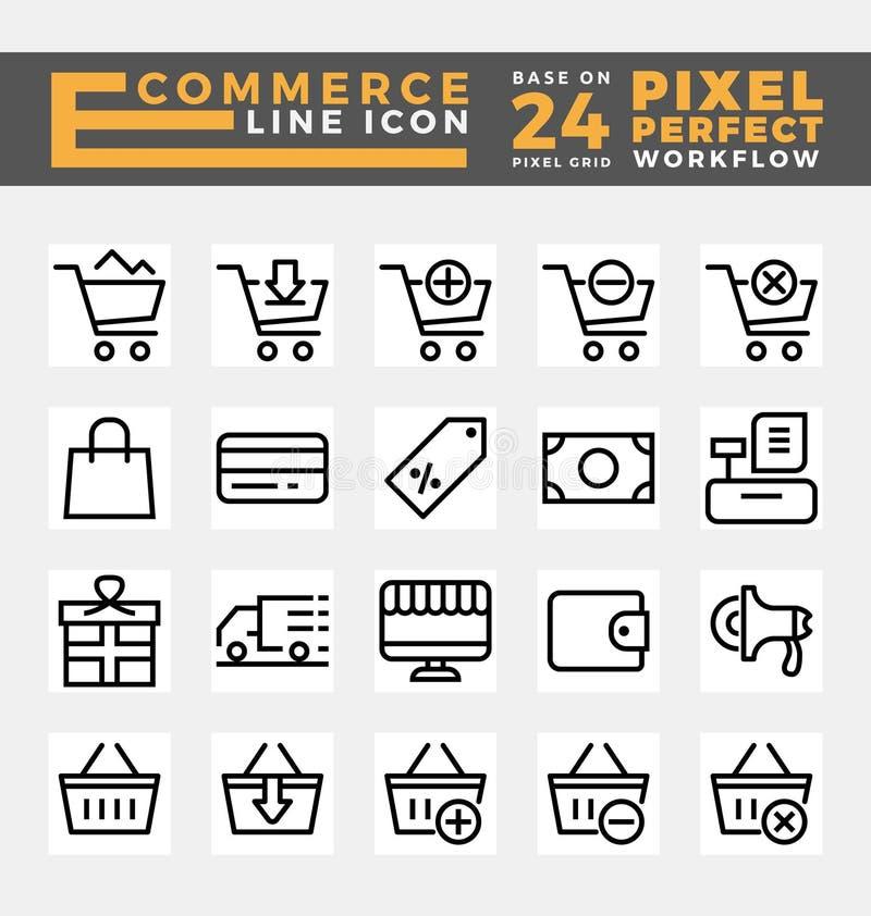 Handel elektroniczny i online zakupy ikony ilustracja wektor
