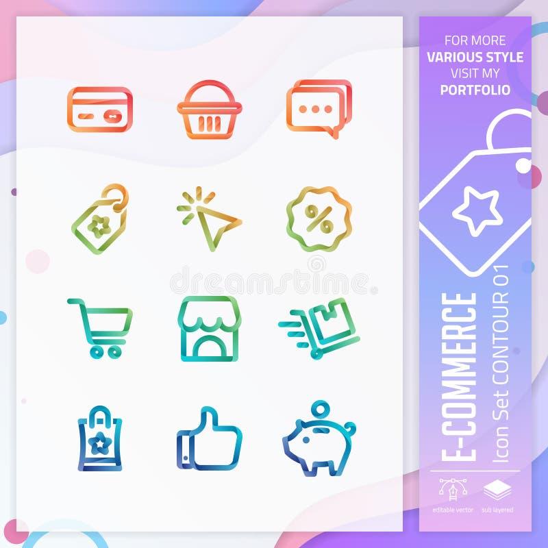 Handel elektroniczny ikona ustawiająca na 3D stylu dla robić zakupy symbol Biznesowy ikona plik może używać dla strony internetow ilustracji