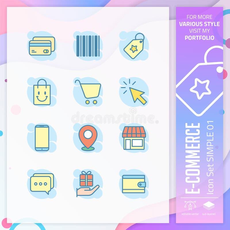 Handel elektroniczny ikona ustawiaj?ca z prostym stylem dla robi? zakupy symbol Biznesowy ikona plik mo?e u?ywa? dla strony inter royalty ilustracja
