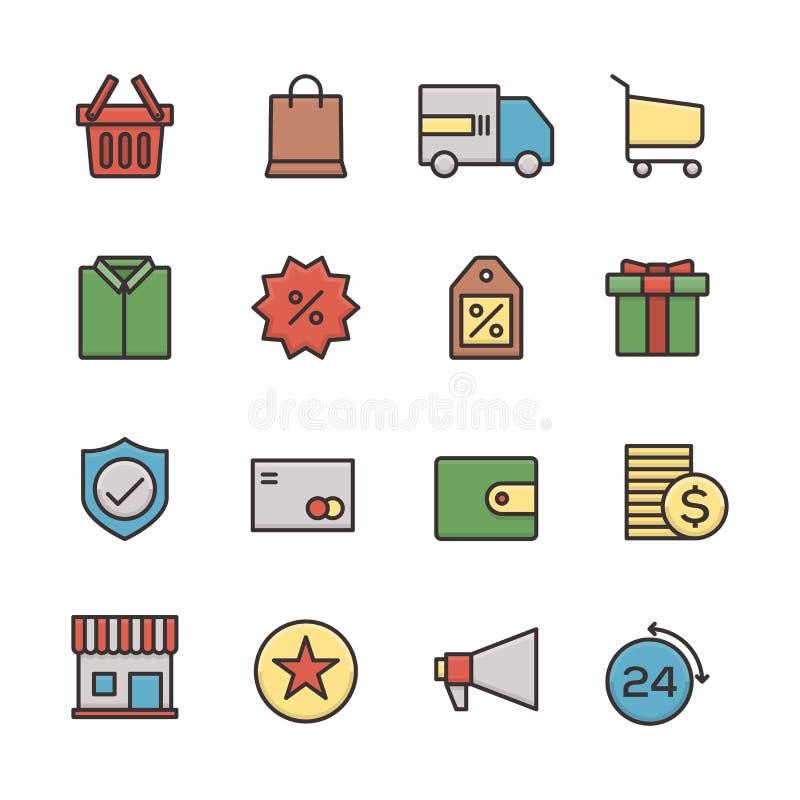 Handel elektroniczny ikony biznesowego ustalonego konturu płaski projekt royalty ilustracja