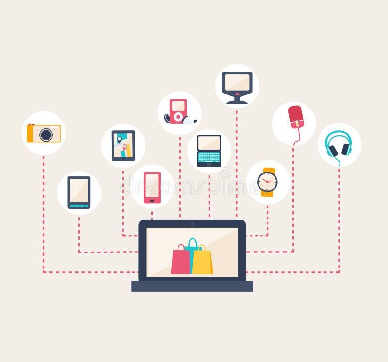 Handel elektroniczny ikony otacza laptop ilustracji