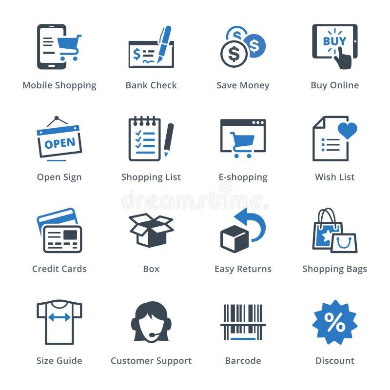 Handel elektroniczny ikony Ustawiają 3 - Błękitne serie ilustracja wektor