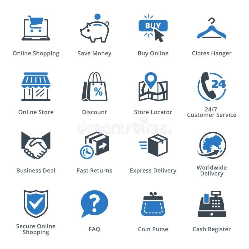Handel elektroniczny ikony Ustawiają 5 - Błękitne serie ilustracji
