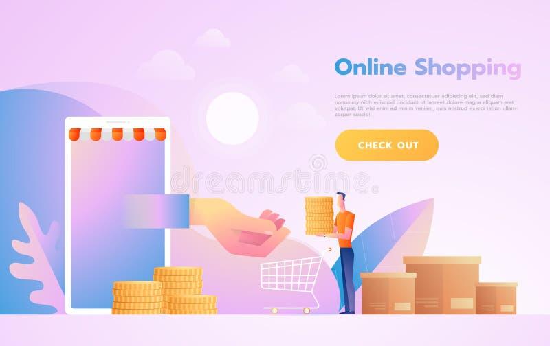 Handel elektroniczny lub online zakupy pojęcie z rękami dosięga z ekranu komputerowego trzyma zakupy produkt royalty ilustracja