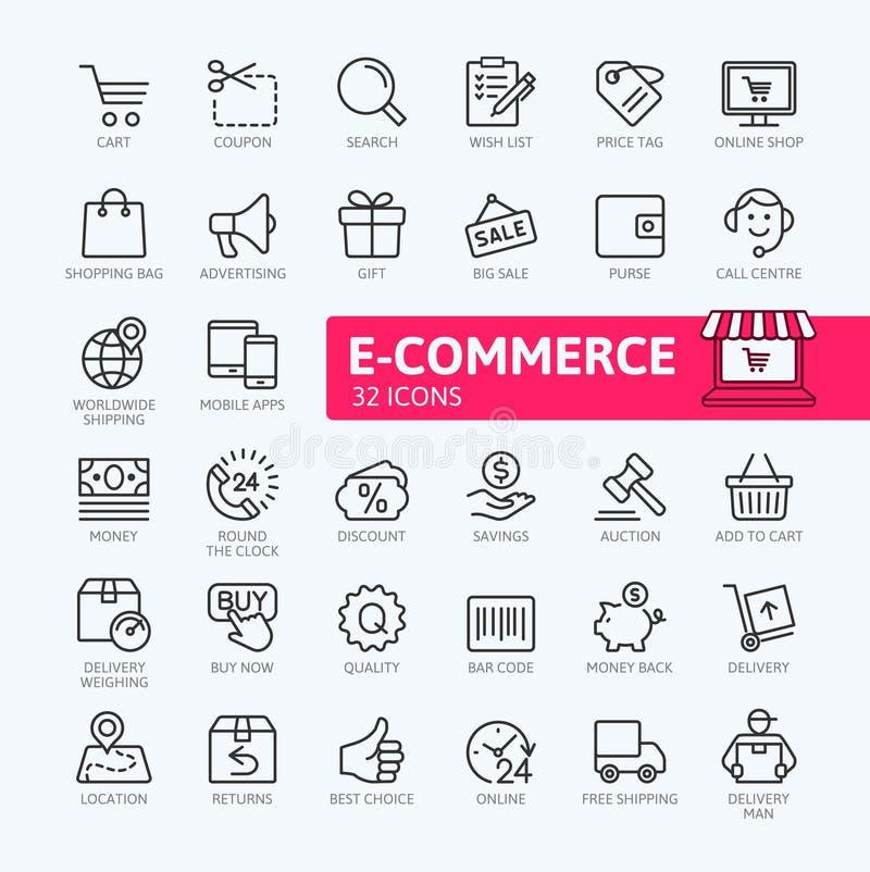 Handel elektroniczny, online zakupy i dostawa elementów sieci ikona, ustawiamy - zarysowywa ikona set ilustracji