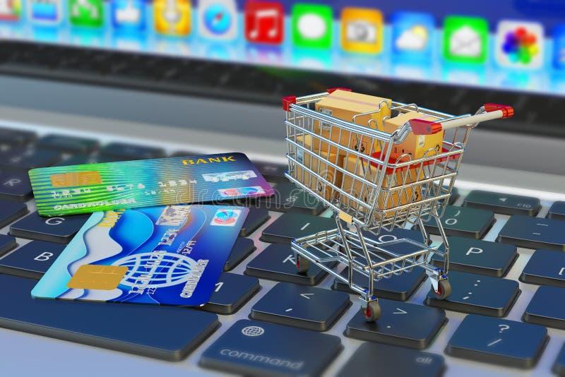 Handel elektroniczny, online zakupy i interneta zakupy pojęcie, ilustracji
