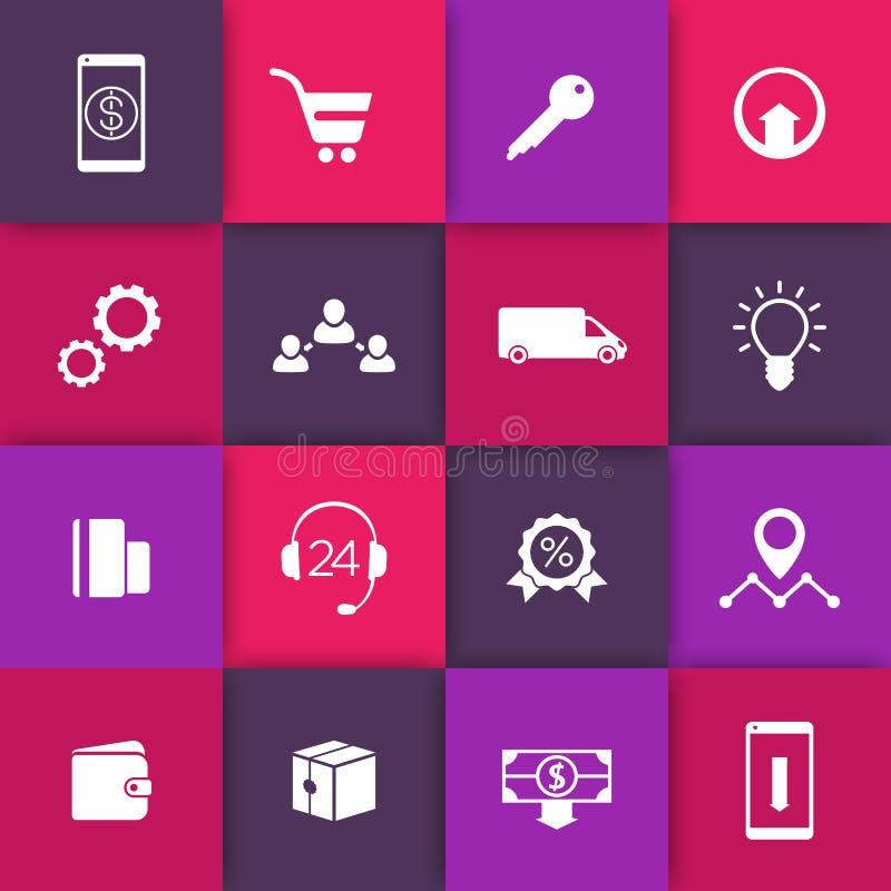 Handel elektroniczny, online zakupy sieci ikony na kwadratach, piktogramy dla handel elektroniczny strony internetowej ilustracji