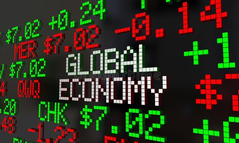 Handel för världsekonomiaktiemarknadTicker royaltyfri illustrationer