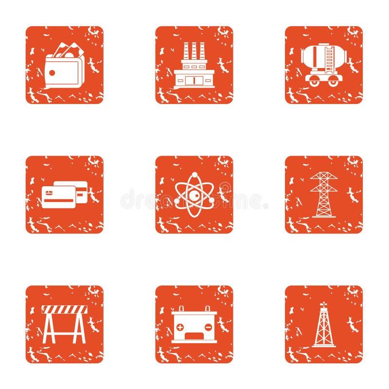 Handel geplaatste productiepictogrammen, grunge stijl vector illustratie