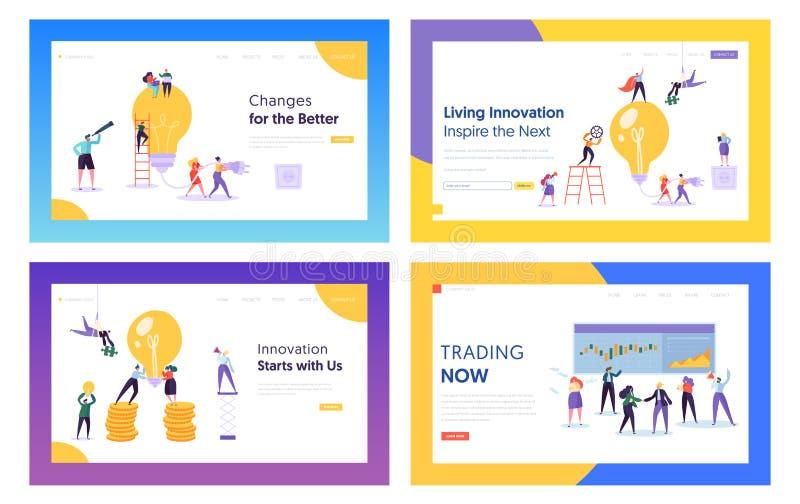 Handel, Innovations-Ideen für Geschäfts-Website-Landungs-Seiten-Schablonen-Satz Wirtschaftler mit enormer Glühlampe und Schirm stock abbildung