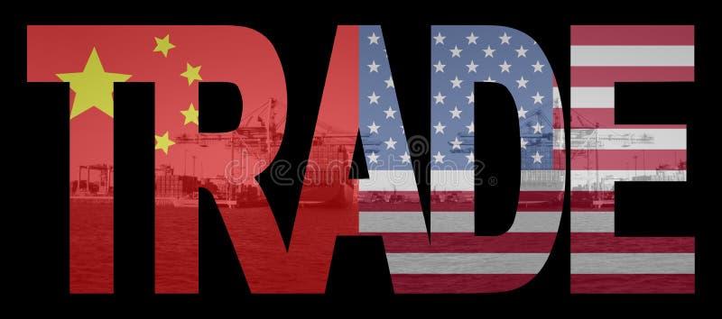 Handel met Chinese en Amerikaanse vlaggen royalty-vrije illustratie