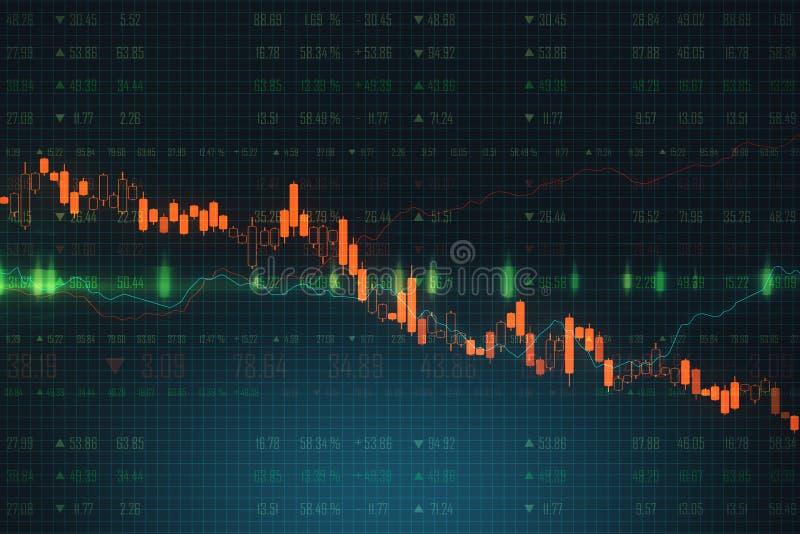 Handel och kriskoncept med diagram som går nedåt i bakgrunden av affärsschemat vektor illustrationer