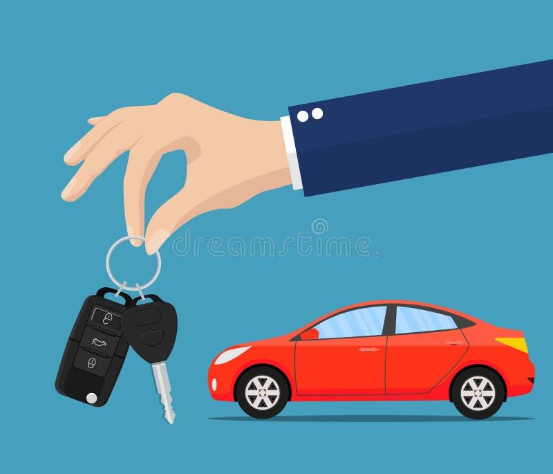 Handelaar die sleutelsketen geven aan een kopershand vector illustratie