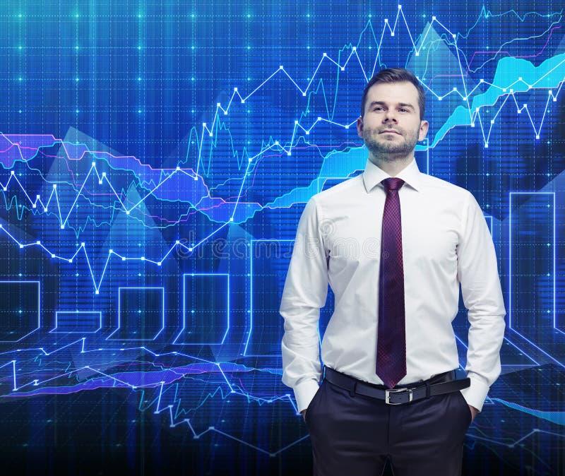 Handelaar en forex grafiek stock foto's