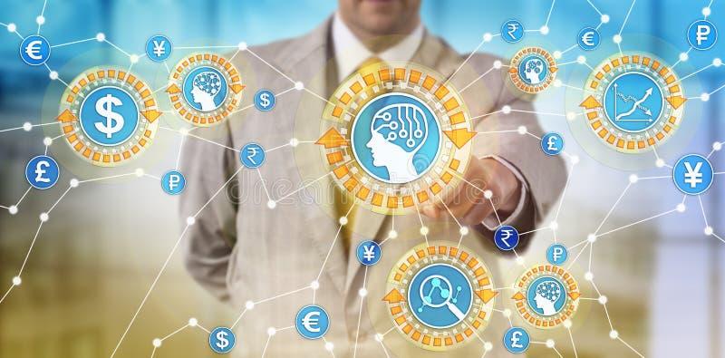 Handelaar Monitoring Transaction Patterns via AI royalty-vrije stock afbeeldingen