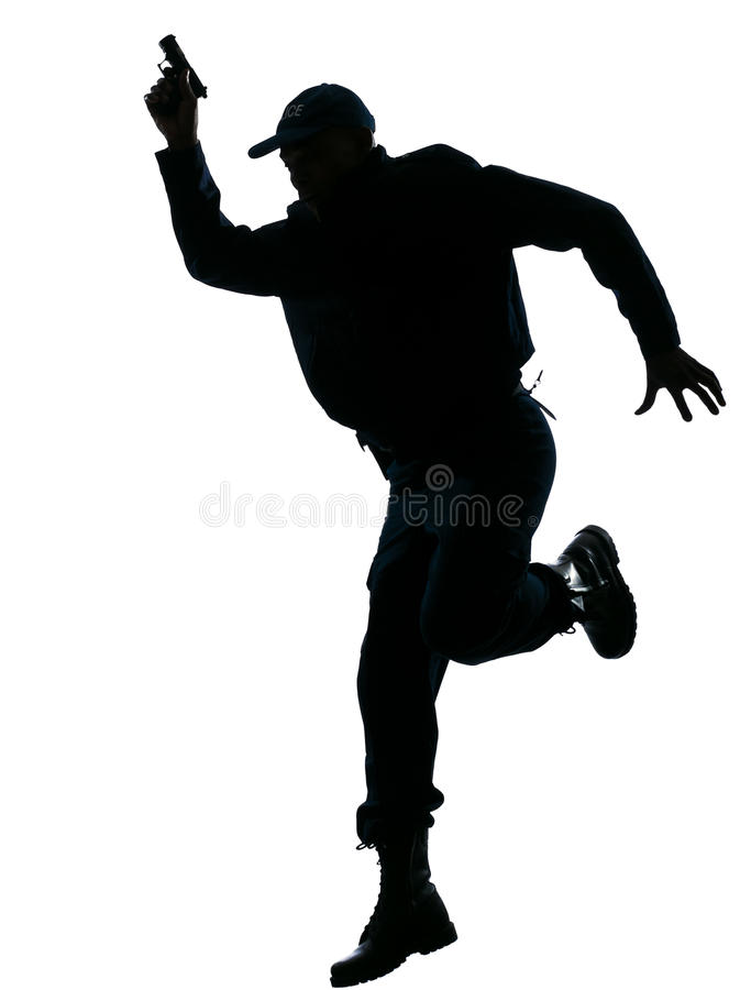 handeldvapenpolisrunning royaltyfri fotografi