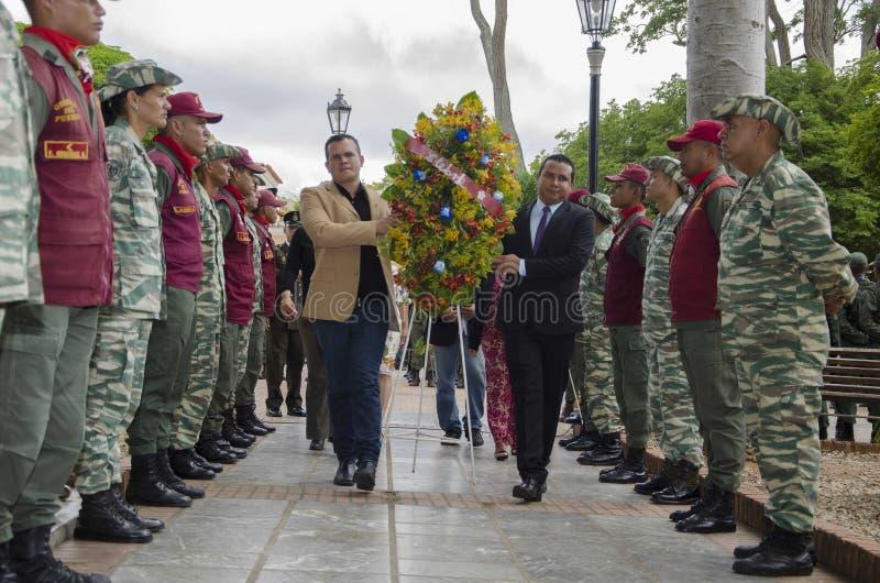 handeling in herdenking van de verjaardag bij de 198ste verjaardag van de glorierijke Slag van Carabobo stock foto's