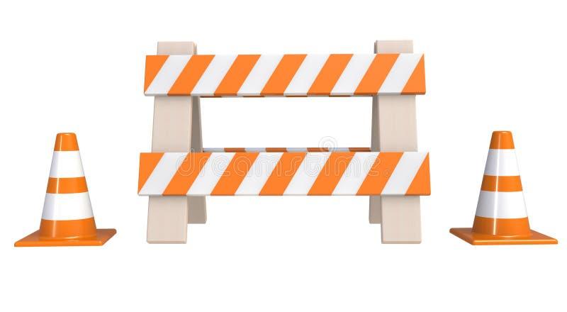 Handeln Sie Kegel und eine ` im Bau ` Sperre, die auf einem weißen Hintergrund lokalisiert wird Im Bau Konzept Warnzeichen der St vektor abbildung