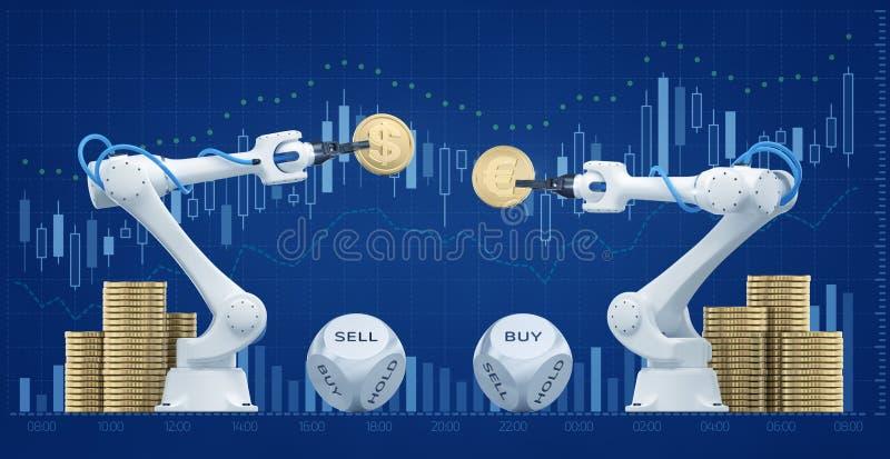 Handelrobotar på Forexmarknad vektor illustrationer
