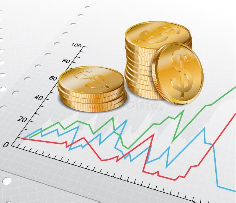 Handelsdiagram met gouden muntstukken stock illustratie
