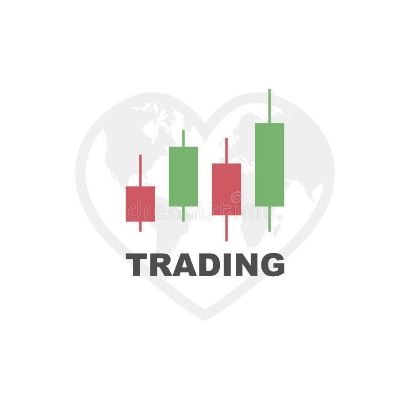 Handelsdiagrammikone Erdhandelsvorrat Vektor stock abbildung
