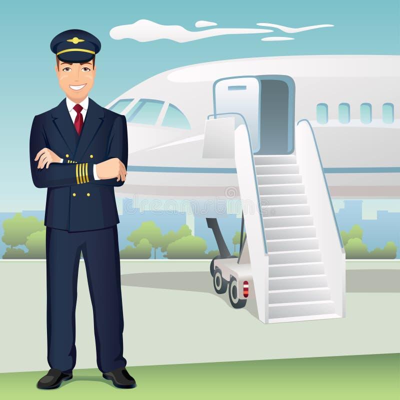 Handelsfluglinien-Pilot mit dem Hintergrund des Flugzeuges stock abbildung