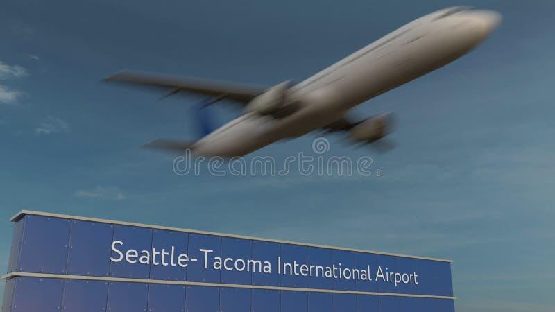 Handelsflugzeug, das an der redaktionellen Wiedergabe 3D internationalen Flughafens Seattle-Tacomas sich entfernt stockbilder