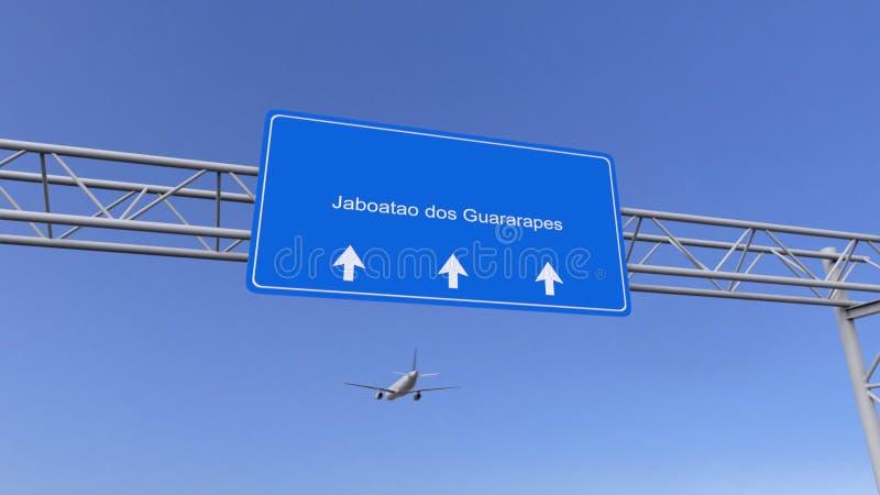 Handelsflugzeug, das zu Flughafen Jaboatao DOS Guararapes ankommt Reisen zu Brasilien-Begriffs-Wiedergabe 3D stockbild