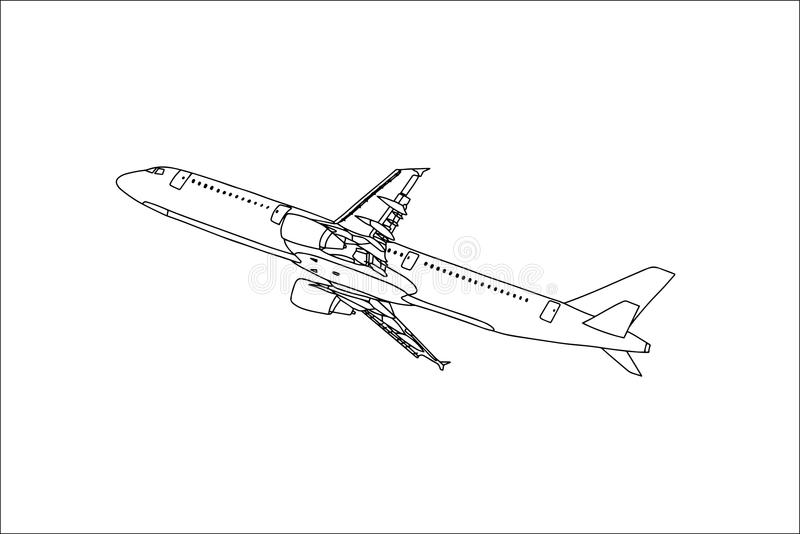 Handelsflugzeug-Entwurfs-Fliegen im Himmel Vektor stockfotografie
