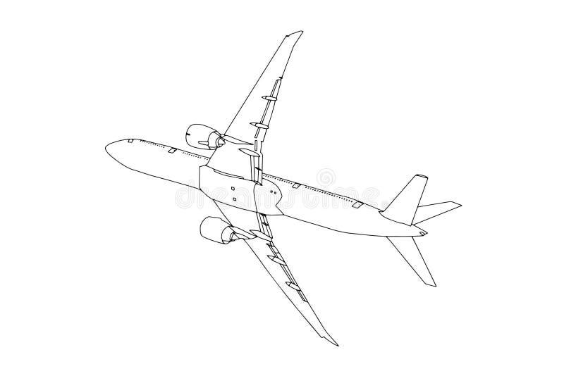 Handelsflugzeug-Entwurfs-Fliegen im Himmel Vektor stockbilder