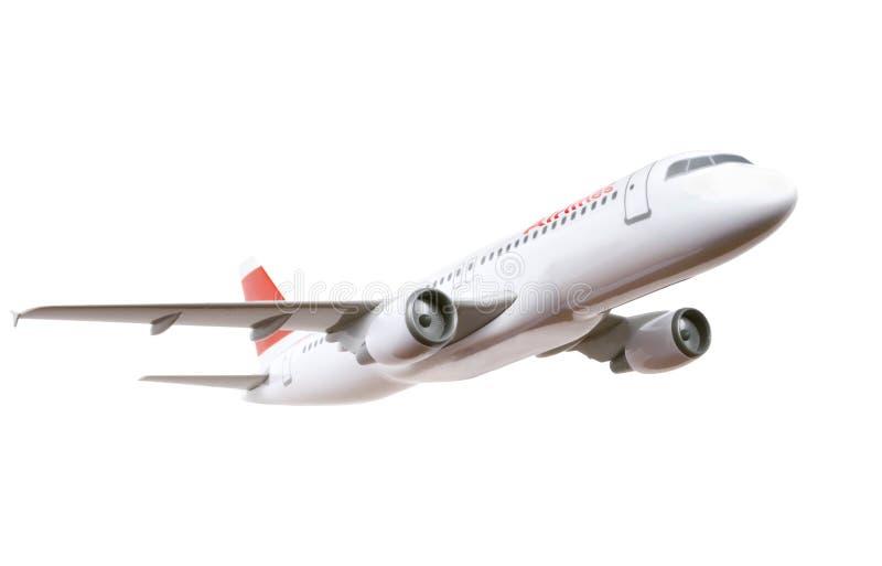 Handelsflugzeugbaumuster getrennt auf Weiß stockfotografie