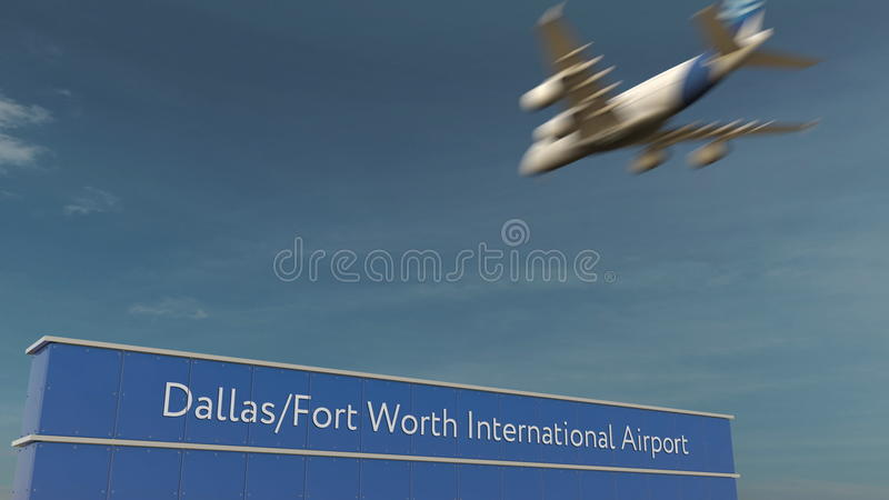 Handelsflugzeuglandung an Wiedergabe Dallas Fort Worth International Airports 3D lizenzfreie stockfotografie