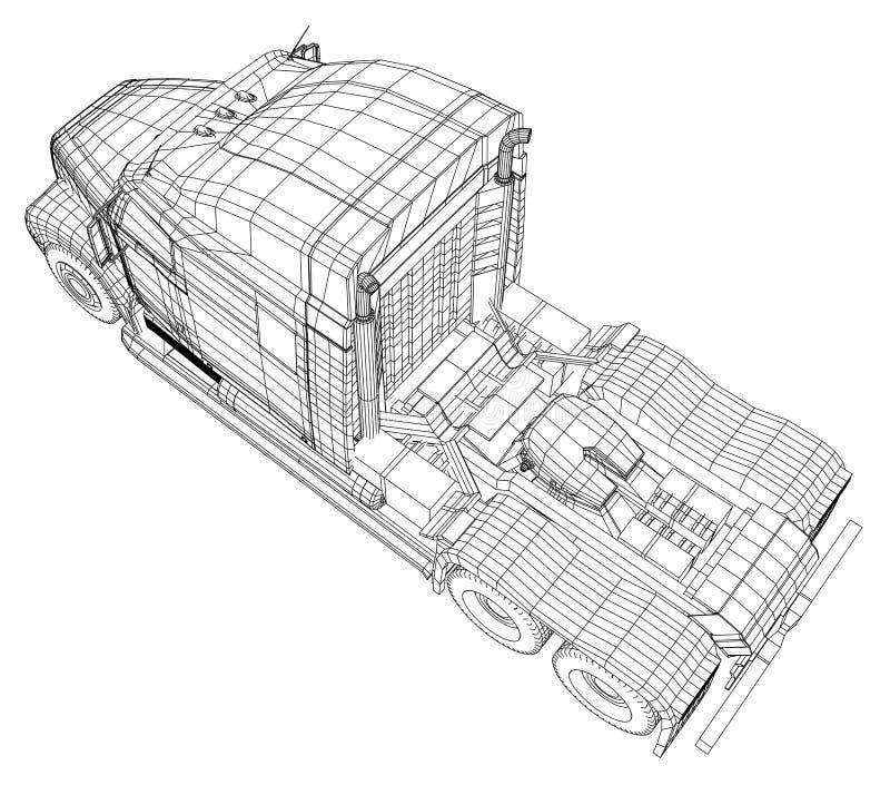 Handelsfrachtlieferwagen Getrennt Geschaffene Illustration von 3d Draht-Rahmen vektor abbildung