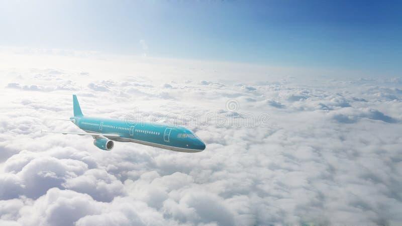 Handelsjet, der über Wolken fliegt lizenzfreie stockbilder