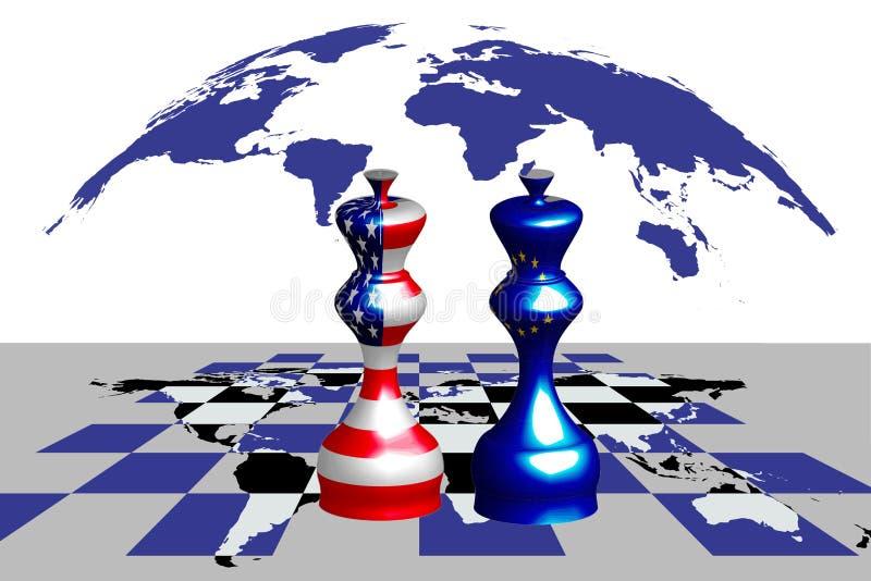 Handelskonflikt zwischen USA und EU lizenzfreie abbildung