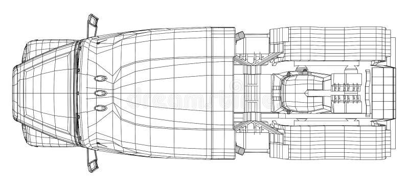 Handelslieferungs-Fracht-LKW-Vektor für Markenidentität und Werbung lokalisiert Geschaffene Illustration von 3d draht vektor abbildung