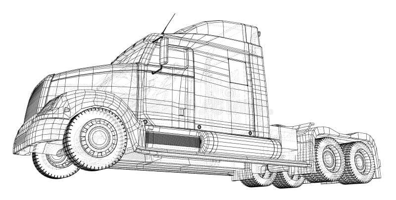 Handelslieferungs-Fracht-LKW-Vektor für Markenidentität und Werbung lokalisiert Geschaffene Illustration von 3d draht stock abbildung