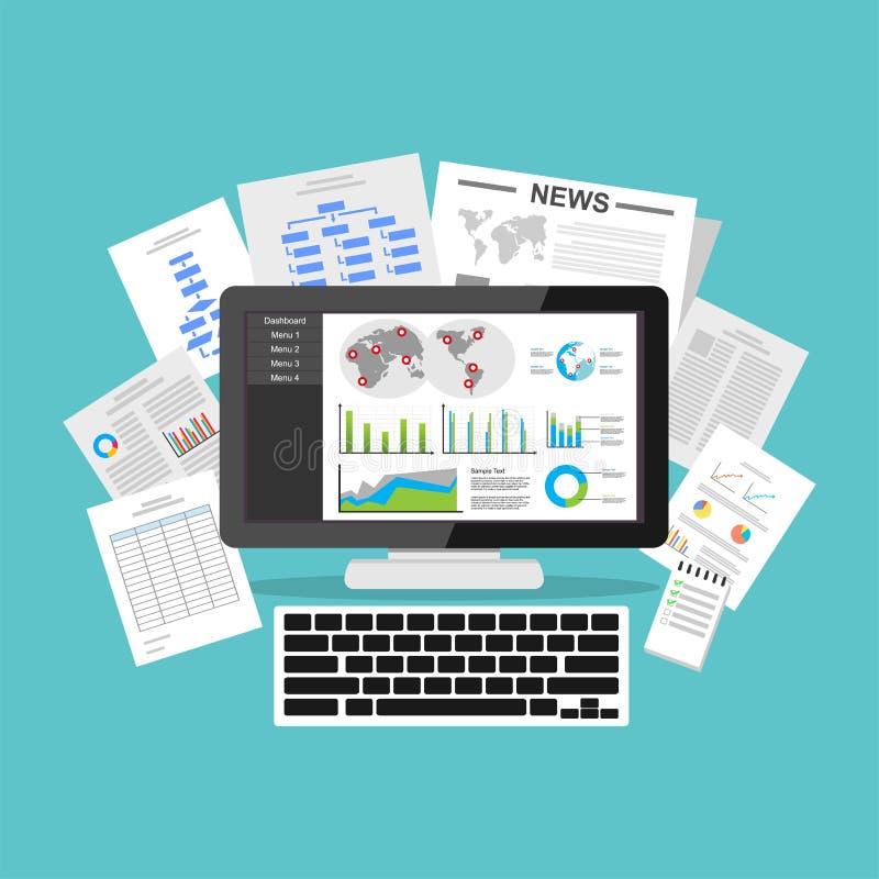 Handelsnachrichten-Armaturenbrettanwendung Datensichtbarmachung auf Tischplattenschirm lizenzfreie abbildung