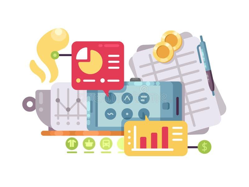 Handelsnachrichten und Analyse lizenzfreie abbildung