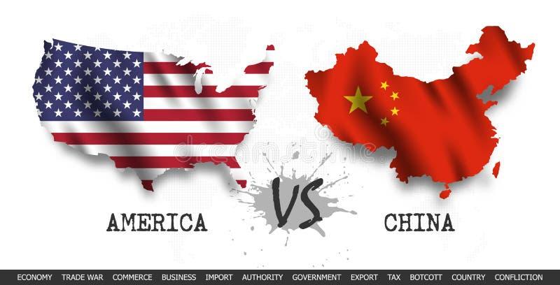 Handelsoorlog De Verenigde Staten van Amerika tegenover China Golvende vlag en kaart op de achtergrond van de wereldkaart Vector stock illustratie